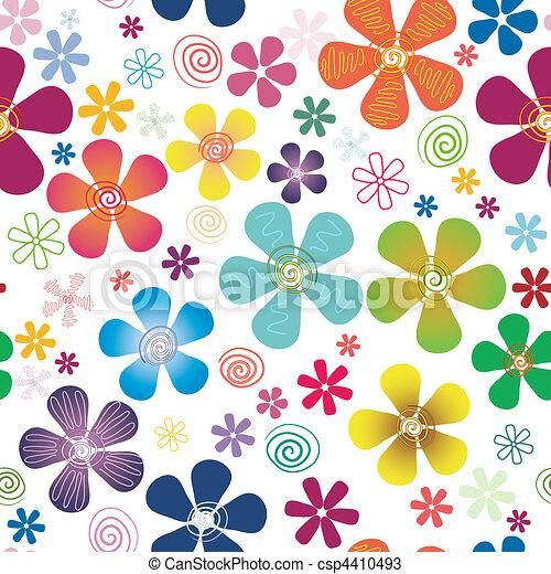 White seamless floral pattern - csp4410493