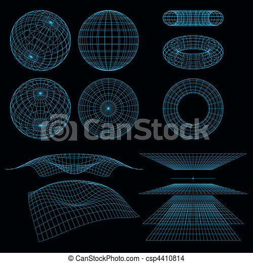 Geometry, Mathematics and Perspective wireframe symbols. Vector illustration.  - csp4410814