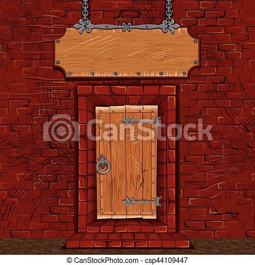 Store Doors Clipart eps vector of tavern or store facade door gate with signboard