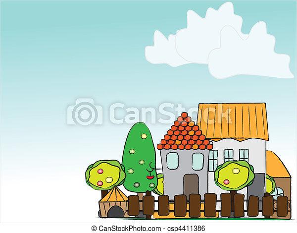 cartoon village - csp4411386
