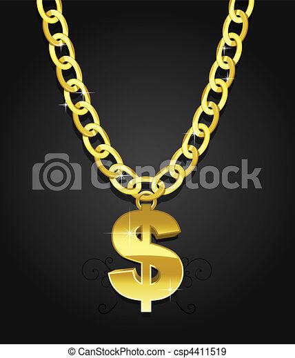 dollar sign hanging on the chain - csp4411519
