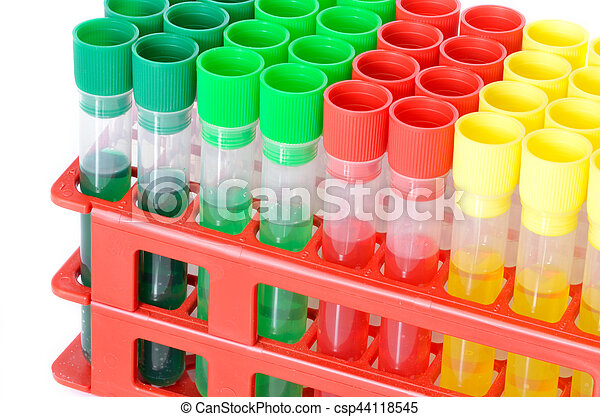 Set of chemical test tubes with different colors chemicals. Flasks for laboratory testing isolated on white background