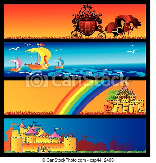 Fairy-tale banners. - csp4412493