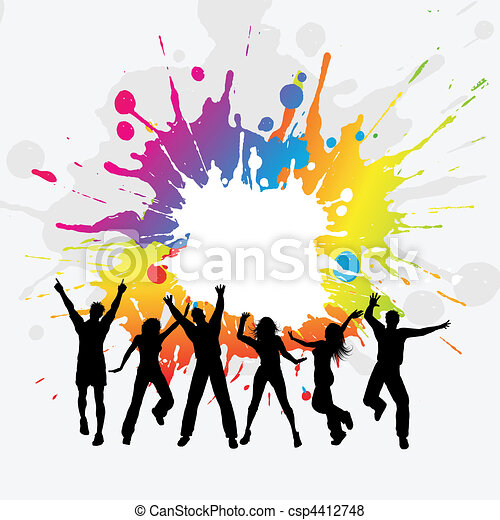 vector of grunge party people   silhouettes of a group of people