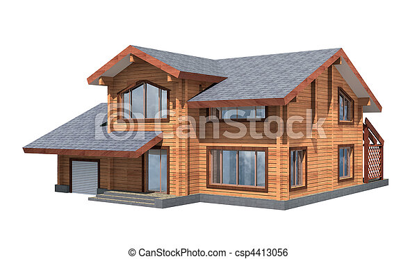Residential house of wooden timber. 3d model render. Isolation on white background. Real estate - csp4413056