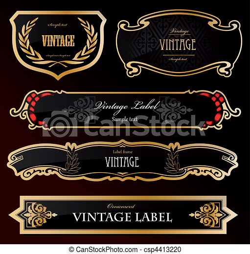 Decorative black golden labels . Vector - csp4413220