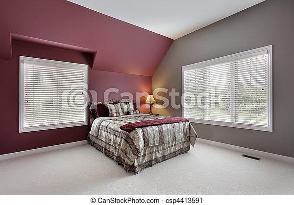 Stock de fotograf a de grande paredes dormitorio for Dormitorio granate