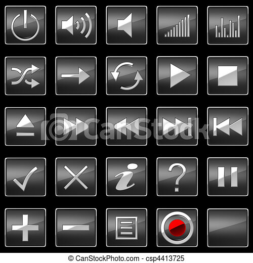 Black Control panel icons or buttons - csp4413725