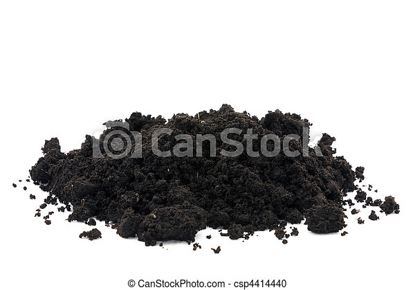 Pile of soil isolated on white - csp4414440