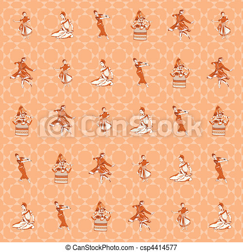 pattern background of indian dance postures - csp4414577