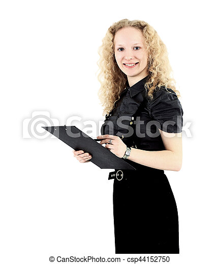 Nice business woman blonde with a report in his hands - csp44152750