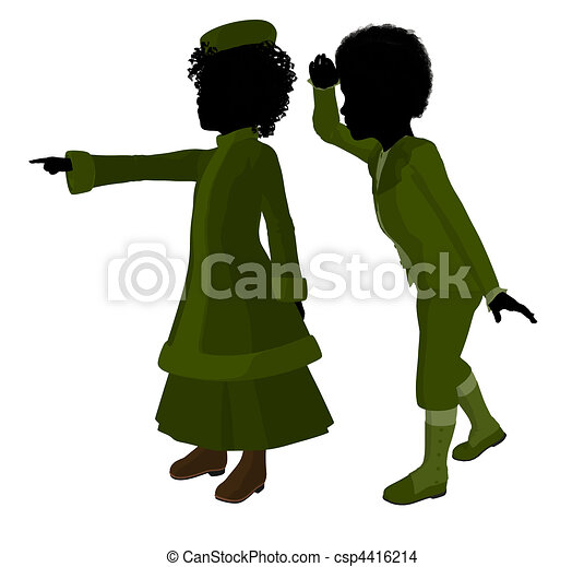Victorian Children Art Illustration Silhouette - csp4416214
