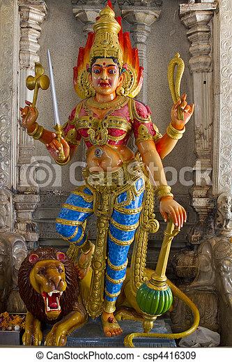 Hindu Goddess Durga on Lion - csp4416309