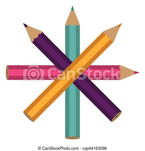 set of colored pencils icon - csp44163096