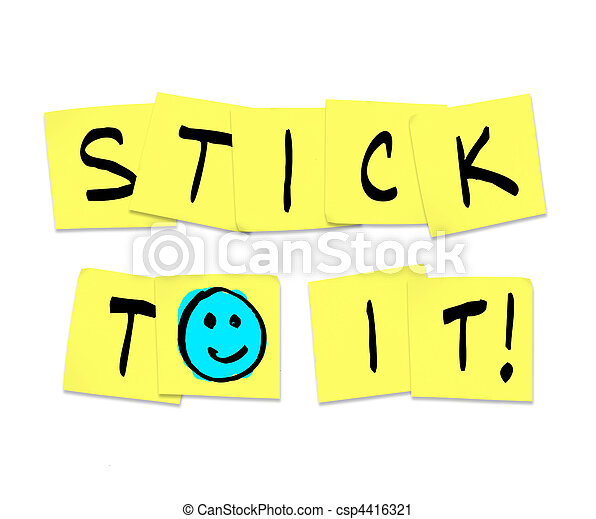 Stick To It - Words on Yellow Sticky Notes - csp4416321
