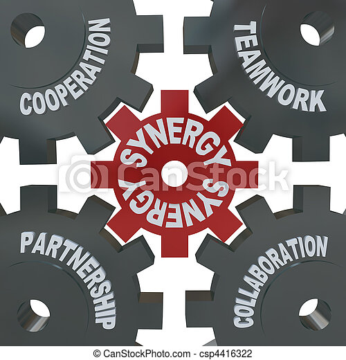 sinergia, engranajes, -, trabajo en equipo, acción - csp4416322