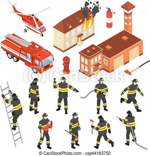 Isometric Fire Department Icon Set - csp44163750