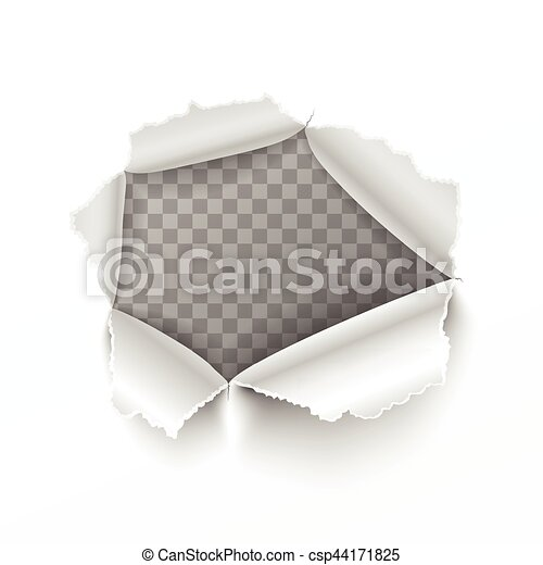 Torn hole in white sheet of paper - csp44171825