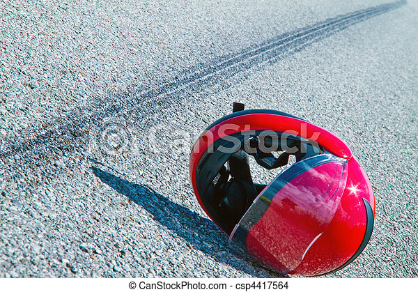 Motorcycle accident. Skid mark on road traffic accident. - csp4417564