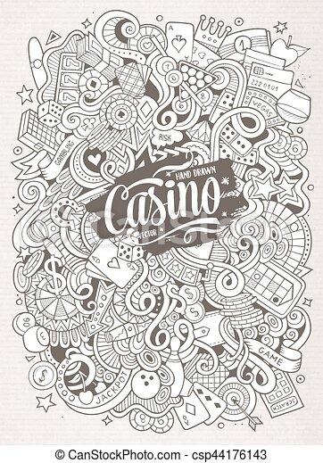 Cartoon hand-drawn doodles casino, gambling illustration - csp44176143