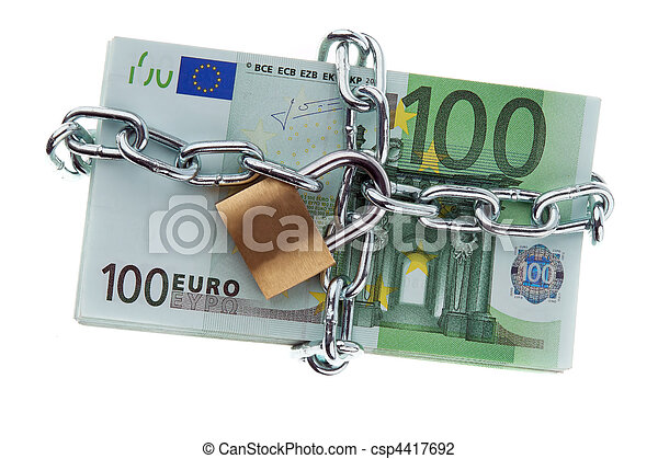 Euro bank notes with a lock and chain. - csp4417692