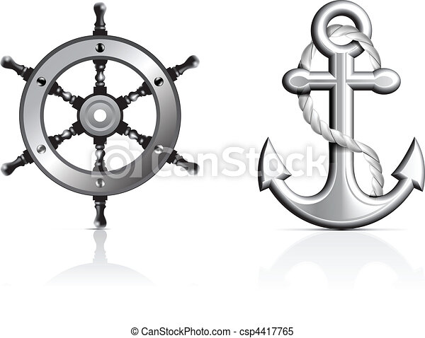 Anchor and Steering Wheel - csp4417765
