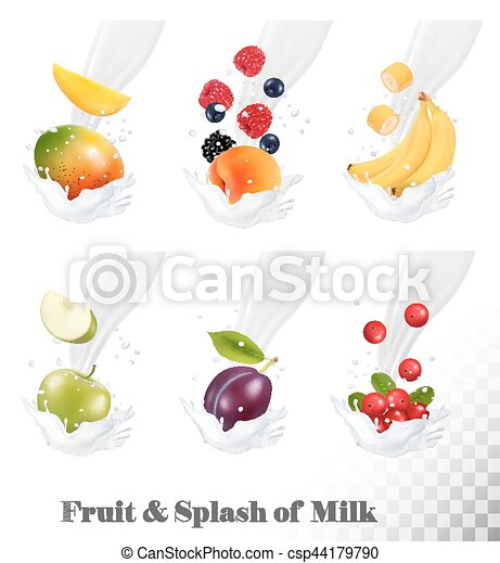 Big collection of icons of fruit and berries in a milk splash. Strawberry, apple, plum, cranberry banana, peach, blackberry, blueberry. Vector. - csp44179790