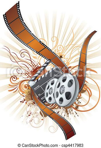 film strip, movie theme element - csp4417983