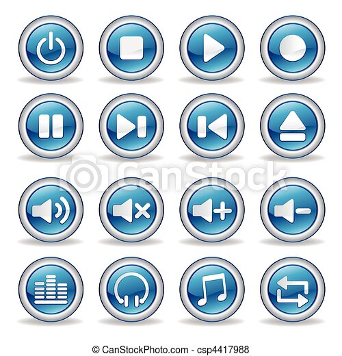 media player glossy buttons - csp4417988