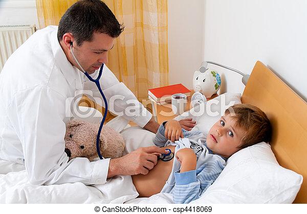 Physician home visit. Examines sick child. - csp4418069