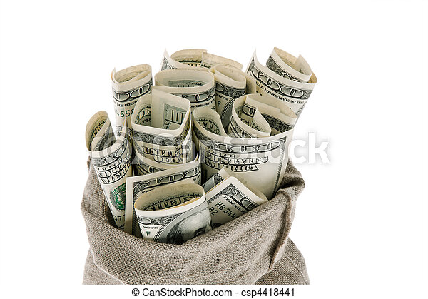 U.S. dollars bills in a sack - csp4418441