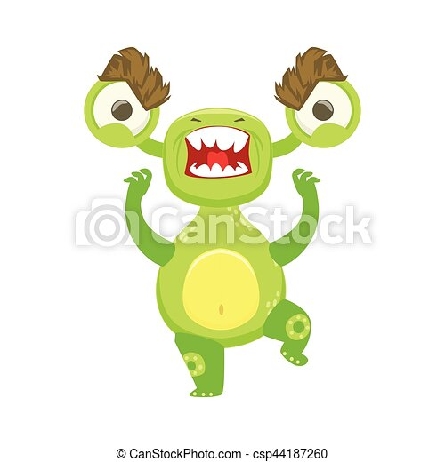 Clip Art Vector of Angry Funny Monster Pissed Off, Green Alien ...