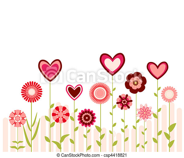 flowers and hearts  - csp4418821