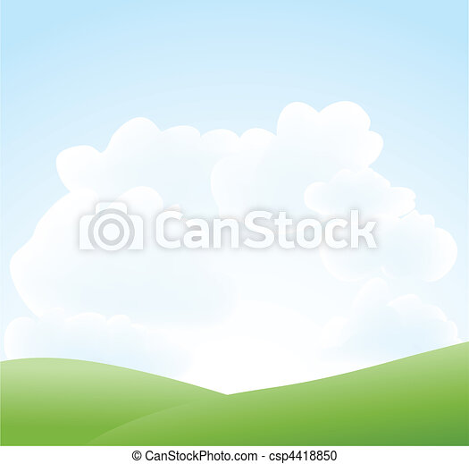 spring landscape with sky and cloud - csp4418850