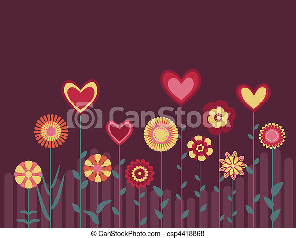 retro abstract flowers and hearts - csp4418868