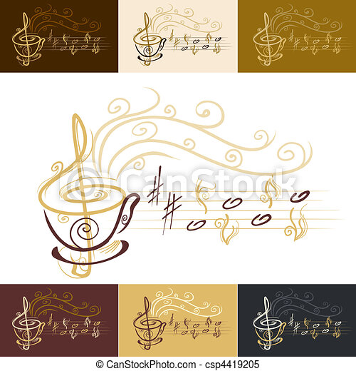 musical coffee cup - csp4419205