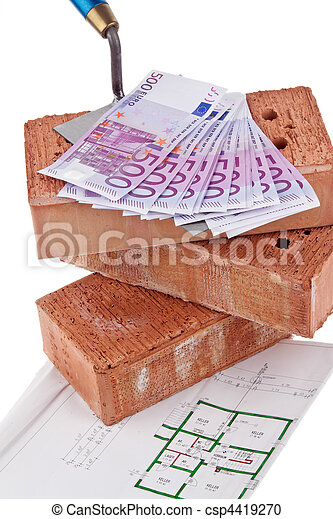 Construction, financing, building societies. Brick and ? - csp4419270