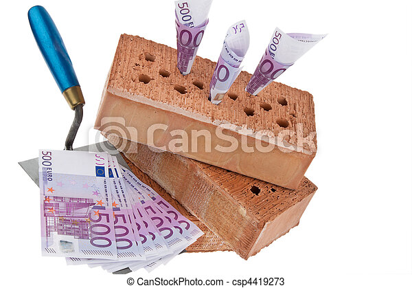 Construction, financing, building societies. Brick and ? - csp4419273