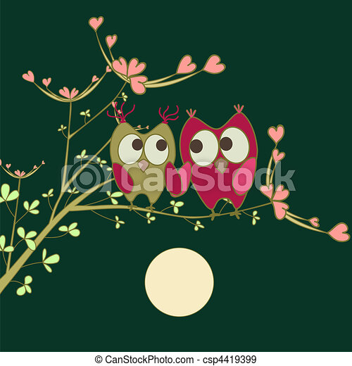 owls in love on branch - csp4419399