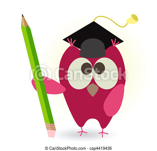 owl and pencil - csp4419436