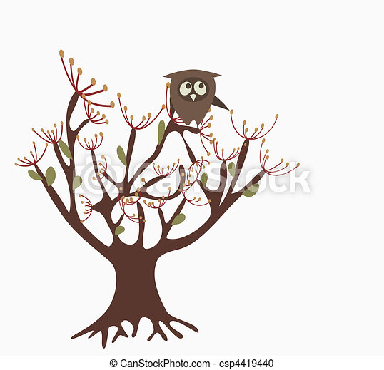 cute owl on a tree - csp4419440
