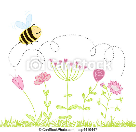 bee over the flowers - csp4419447