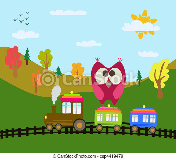 cartoon train and owl - csp4419479