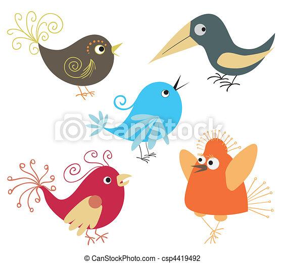 set of cute birds - csp4419492