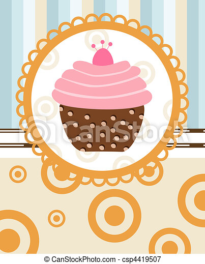 cupcake on retro background - csp4419507