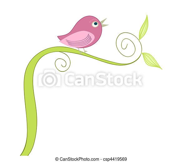 cute singing bird  - csp4419569