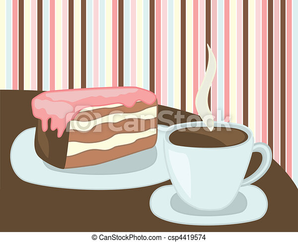 cup of coffee and cake - csp4419574