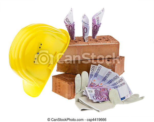Construction, financing, building societies. Brick and ? - csp4419666