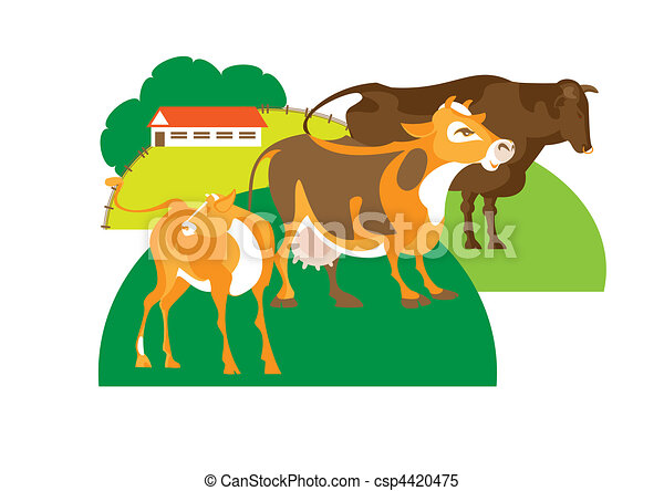 Bull, cow and calf - csp4420475