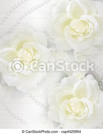 Wedding invitation background roses - csp4420954